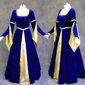 Medieval-Renaissance-Gown-Dress-Costume-BLUE-Wedding-L