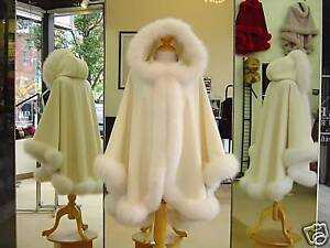 NEW IVORY CASHMERE CAPE SHAWL WITH WHITE FOX FUR & HOOD