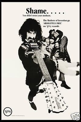 1970's OffBeat Rock: Frank Zappa on Verve Records Promotional Poster 1970