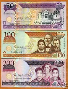 Dominican-Republic-Set-50-100-200-2006-2007-UNC