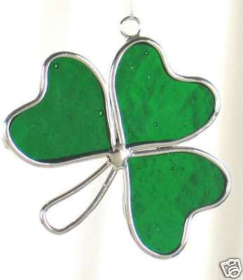 Stained Glass Green 3 Leaf Clover Shamrock Sun Catcher