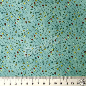 Stecknadeln-auf-blau-Patchwork-Quilt-Deko-Stoff-Naehen-SSI-20x110cm