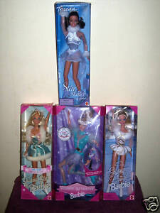 LOT-OF-FOUR-SKATING-DOLLS-THREE-BARBIE-AND-ONE-TERESA