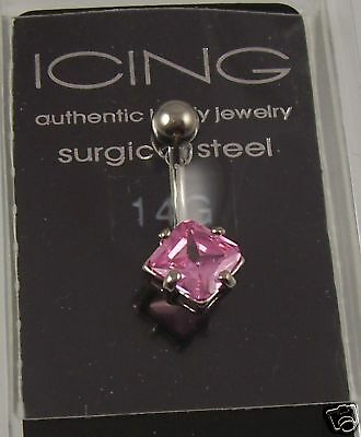 Pink Crystal Belly Button Ring, Piercing, Body Jewelry