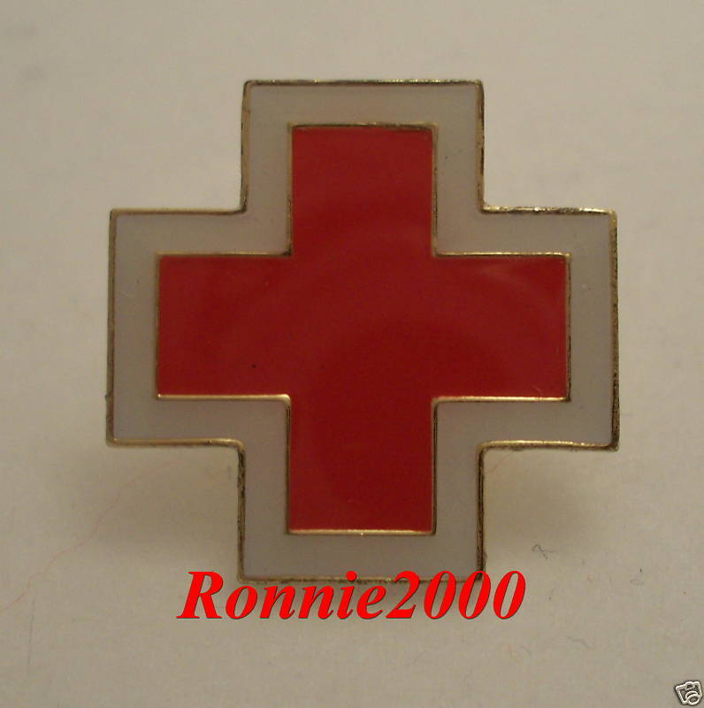 Outlined Cross American Red Cross Pin