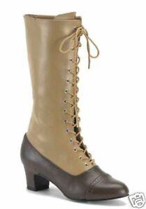 Victorian-Granny-Boots-Tall-2Tone-Bn-Tn-Victorian-Shoes-Granny-Shoes-112