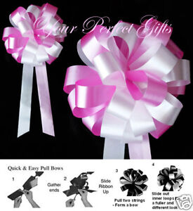 "CANDY PINK WHITE WEDDING 8"" PEW BOW BRIDAL DECORATION"
