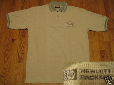 HP-Hewlett-Packard-logo-POLO-SHIRT-Khaki-Gray-S-M-L-LH4