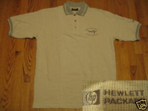 HP-Hewlett-Packard-logo-POLO-SHIRT-Khaki-Gray-S-M-L-LH4