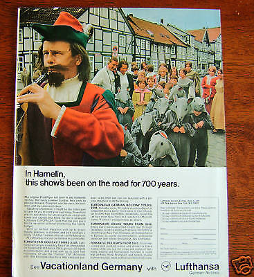 1969 Lufthansa Airlines Ad - Hamelin Germany Pied Piper