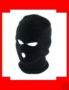 BLACK-3-Hole-Face-Mask-Biker-Ski-Hat-Beanie-FREE-SHIP