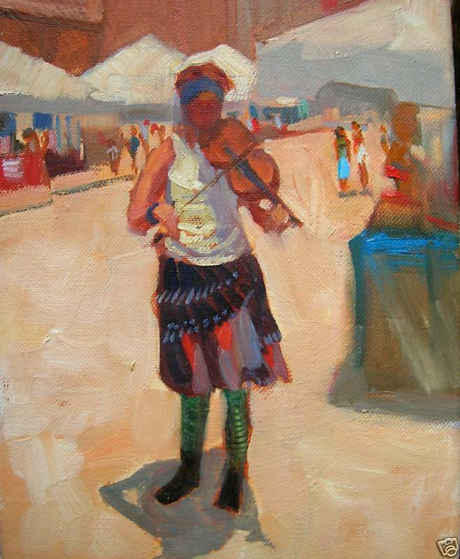 MAYFEST STREET GIRL MUSICIAN,fiddle player, original oil artist Margaret Aycock