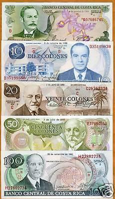 Costa Rica, Obsolete Set, 5;10;20;50;100 colones, UNC