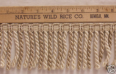 Ivory & Dark Gold Twisted Fringe Trim 40 Inches Tr 442