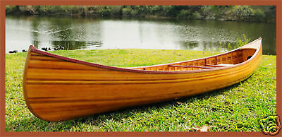 Cedar Strip Built Canoe Wooden Boat 12' w/ Ribs Gloss Finish Woodenboat USA New
