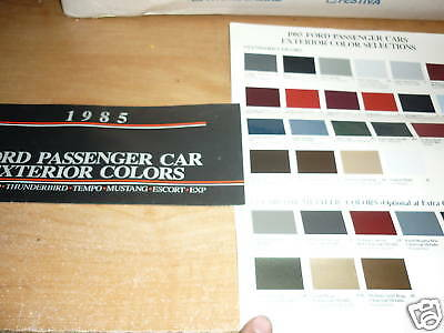 1985 Ford Mustang Thunderbird Exp Color Chips Chart