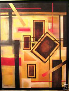 Australian-Artist-Gayle-Russell-039-s-original-acrylic-abstract-039-Puzzler-039
