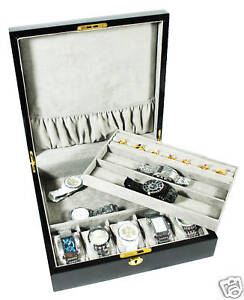 7-WRISTWATCH-BLACK-JEWELRY-DISPLAY-WATCH-CASE-BOX