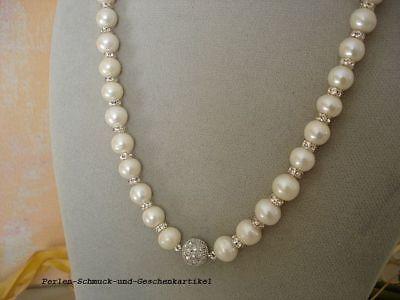 Echte Funkelnde Perlenkette Rund Weiß 9mm/45cm Zirkonia-magnetverschluss Top