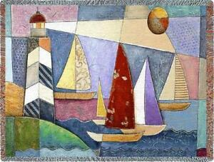 70x54 LIGHTHOUSE Sailboats Boat Tapestry Throw Blanket