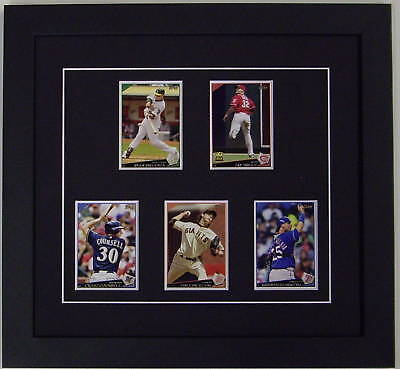 Five 5 card trading card display frame with black mat ebay for K decorations trading