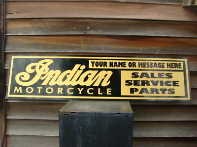 1940S 50S Indian Motorcycle Personalized Dealer Sign Ad W Script Logo 1X46