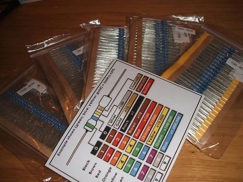 MR25 Metal Film Resistor Kit 1% 1/4 w E24 - E12 Values