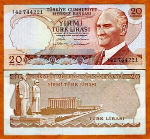 Turkey-20-Lira-L-1970-1974-P-187-187b-UNC