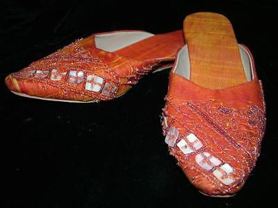 Slip on, Mules, Shoes Sandals Woman Boho Ethnic India Gypsy 39 Orange Flat Shoes