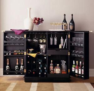 NEW-Steamer-Folding-Wine-Liquor-Bar-Cabinet-in-Black