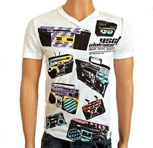 VSCT-Clubwear-Blaster-V-Neck-T-Shirt-white-Tape-Shirt-Kassette-Ghettoblaster
