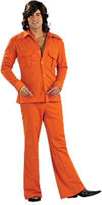 DELUXE 1970'S ORANGE LEISURE SUIT ADULT HALLOWEEN COSTUME MEN'S SIZE STANDARD  (Leisure Suit Orange Kostüme)