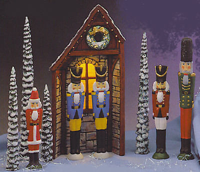 Ceramic Bisque Ready to Paint Tall Nutcracker Guard House Set w/light
