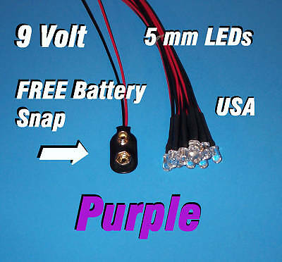 10 X Led - 5mm Pre Wired Leds 9 Volt Purple 9v Usa