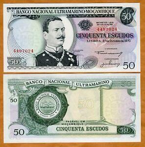 Mozambique-50-escudos-1970-P-111-UNC-gt-Scarce