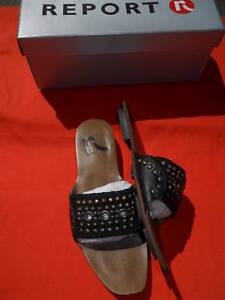 NEU REPORT ZEROV BLACK CONiCAL CONE SPiKE STUD PUNK MULES SANDALS SLiDES Schuhe 6