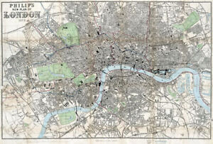 Philip's New Plan of London 1873, old / vintage map