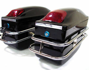BLACK MOTORCYCLE HARD SADDLEBAG TRUNK BAG LUGGAGE TAIL LIGHT CHROME RAIL BRACKET