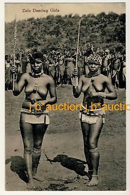 S Africa ZULU DANCING GIRLS * Vintage Ethnic Nude PC
