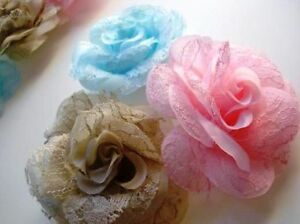 9-Lace-Silk-Big-3-Rose-Brooch-Flower-vintage-H209