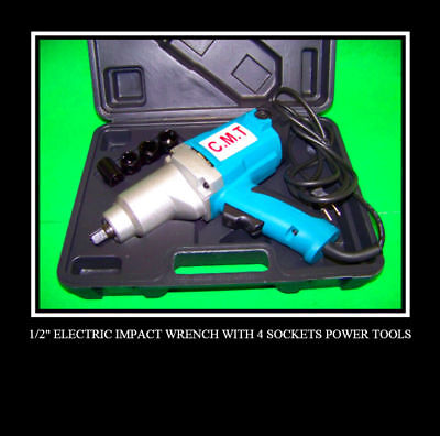 """2 NEW 1/2"""" Electric Impact Wrench With 4 Sockets TOOLS"""