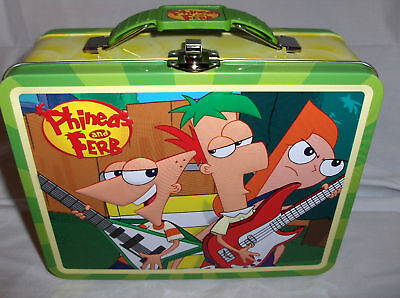 Phineds-Ferb-Green-Handle-Raised-Front-Graphics-Metal-Lunchbox-Free-Ship-To-US