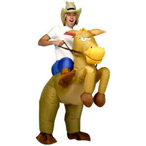 Inflatable Horse and Cowboy Fancy Dress Costume Suit