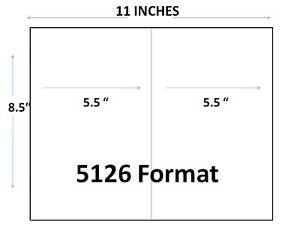 2 000 half sheet shipping labels 8 5 x 5 5 for 5126 for Half page shipping label template