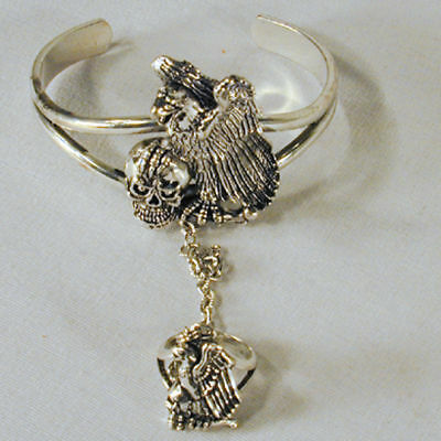 Eagle Skull Slave Bracelet 38 Jewelry Ring Cuff With Chain Ladies Silver