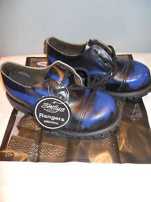 Shelly's Rangers Steel Capped Shoes Black Blue Leather Working Class Uk4 M5