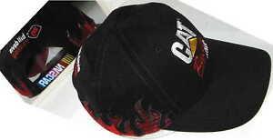 New-Rugged-CAT-Racing-Ball-Cap-Caterpillar-NASCAR-Hat-Black-Red-Flames