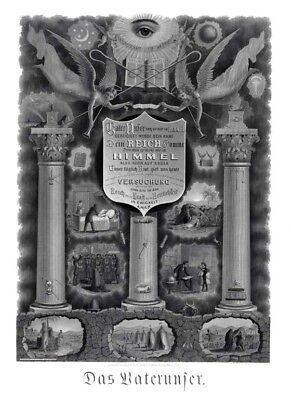 Antique HUGE Odd Fellows LORD'S PRAYER Art Print Poster ring Das Vaterunser IOOF