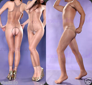 UNISEX-SUN-OIL-SHINE-SLEEVELESS-CROTCHLESS-BODYSTOCKING