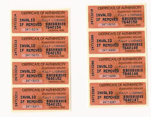 Certificate of Authenticity COA security labels  x100